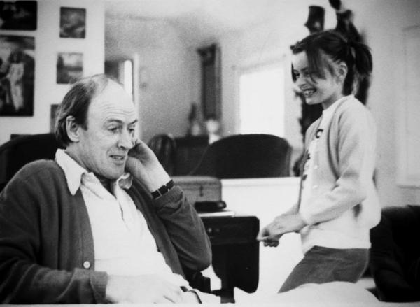 "Children's book author Roald Dahl and his daughter Lucy. ""Food was a huge part of our upbringing,"" Lucy Dahl says. Her father delighted his children with fanciful ""midnight feasts"" in the woods and often used mealtime to test out new characters from stories he was working on."