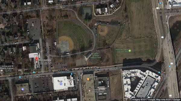 An aerial view from Google Maps shows the scene of Wednesday's shooting at a baseball field in the Del Ray neighborhood of Alexandria, Va. Witnesses say they took shelter in the first-base dugout, while the gunman fired from behind the third-base dugout.