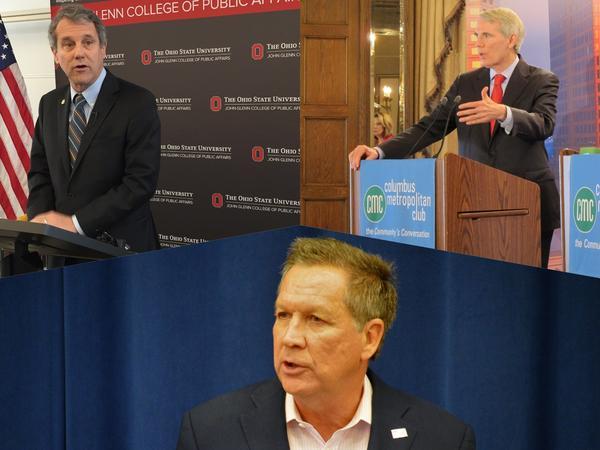 (clockwise from top left) U.S. Sen. Sherrod Brown (D-Ohio); U.S. Sen. Rob Portman (R-Ohio); Gov. John Kasich (R-Ohio)