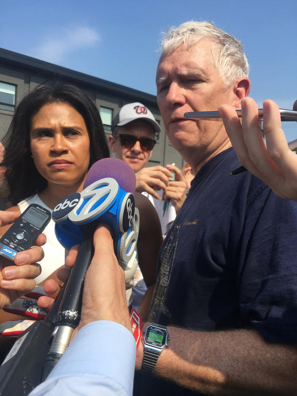 "Rep. Mo Brooks, R-Ala., is interviewed by journalists following the shooting during the congressional baseball practice. He heard ""loud explosions and I look up and there is a guy with a gun about five feet above me, shooting — and at first you don't know if that's a second shooter, but it turned out to be one of our guys."""