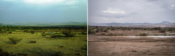 What a difference a few decades can make. Two shots of Borama, Somaliland. The image taken on the left is from Murray Watson's land surveys of Somalia in the 1980s. The shot on the right is of the same spot, taken last year by photographer Nichole Sobecki.