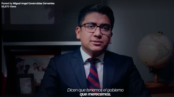 Miguel Angel Covarrubias Cervantes, a former mayor in central Mexico, posted a video of him delivering a speech inspired by a Netflix promotional video for <em>House of Cards.</em>