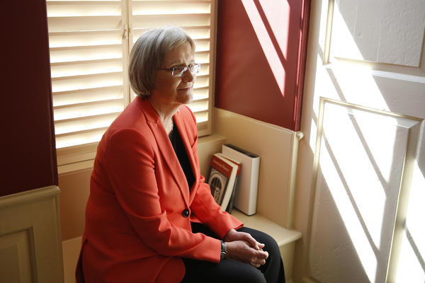 Harvard University President Drew Gilpin Faust poses for a portrait on campus in Cambridge, Mass. Faust has announced that she will step down next year.
