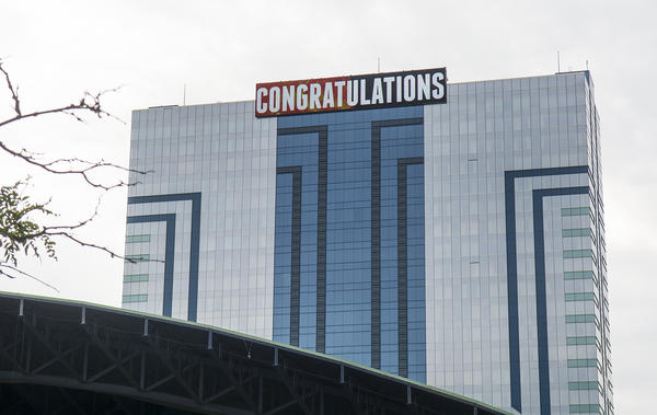 A sign on the Seneca Niagara Casino congratulated Wallenda on her successful stunt