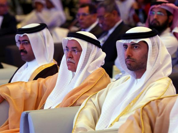Qatari Oil Minister Mohammed bin Saleh Al-Sada (from left), Saudi Oil Minister Ali al-Naimi and United Arab Emirates Energy Minister Suhail bin Mohamed al-Mazroui attend the 10th Arab Energy Conference in Abu Dhabi in 2014. Saudi Arabia and the Gulf states had suspended relations with Qatar for part of that year in retaliation for Qatar's support of the Arab Spring movements.