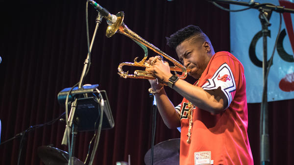 Christian Scott aTunde Adjuah performs live at WXPN's Non-COMMvention in Philadelphia, Pa., in May 2017.