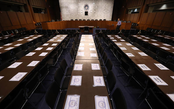 Places are reserved for journalists in the hearing room ahead of U.S. Attorney General Jeff Sessions' testimony before the Senate Intelligence Committee about Russian interference in the 2016 presidential election in the Hart Senate Office Building on Tuesday. More such hearings are still to come.