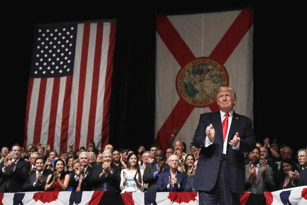 President Donald Trump addressed an enthusiastic crowd at the  Manuel Artime theater in Little Havana.