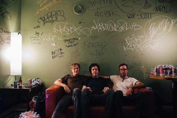 In the green room of Barboza, from left to right: Johnathon Ford, Doug Lorig and Matt Johnson of Roadside Monument.