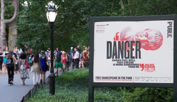 People arrive for the opening night of Shakespeare in the Park's production of Julius Caesar at Central Park's Delacorte Theater on June 12 in New York.