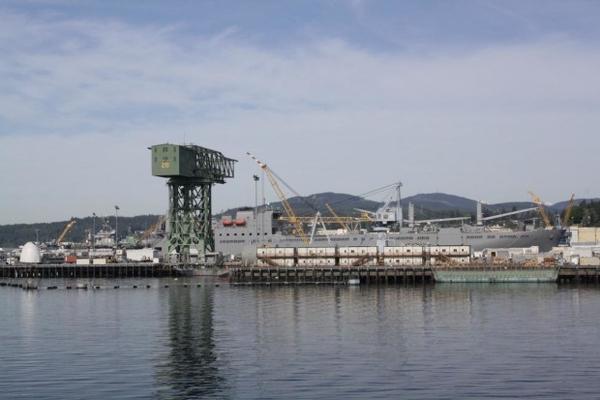 <p>A battleship at the Bremerton shipyard.</p>