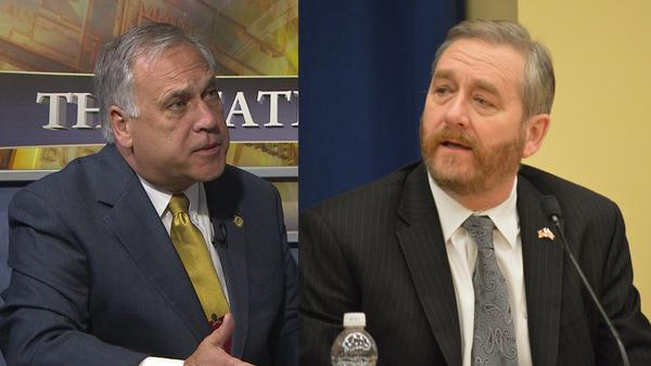 Ohio Department of Rehabilitation and Correction director Gary Mohr (left) and Auditor Dave Yost