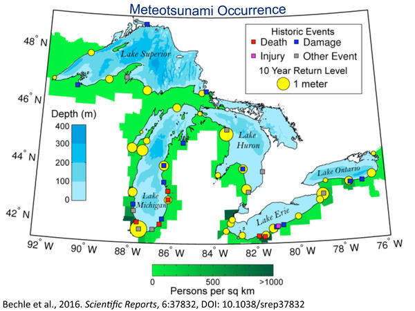 A map of meteotsunami events in the Great Lakes.