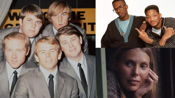 Clockwise from left: The Beach Boys (Hulton Archive / Getty Images), The Fresh Prince (Michael Ochs Archives / Getty Images), Joni Mitchell (Henry Diltz).