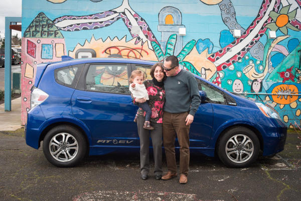 <p>A Portland family tests out a new pilot electric car sharing program in the Cully neighborhood.</p>