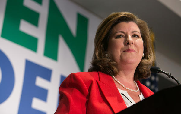 Republican Karen Handel gives a victory speech to supporters at a Hyatt Regency in Atlanta on Tuesday after winning the seat for the Georgia's 6th Congressional District.