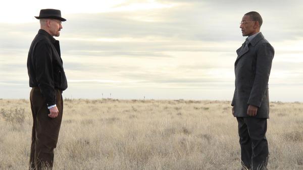 "In ""Full Measure,"" the Season 3 finale of <em>Breaking Bad</em>, Walter (Bryan Cranston) and Gus (Giancarlo Esposito) resolve an impasse."
