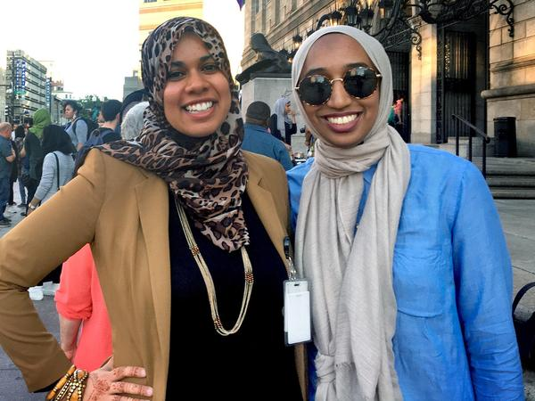 Nouran Shehata, left, and Tahirah Dean say recent violence against Muslims has them concerned and taking precautions, but that it won't prevent them from attending daily prayers. (Shannon Dooling/WBUR)