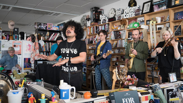 Helado Negro performs a Tiny Desk Concert on May 22, 2017. (Claire Harbage/NPR)