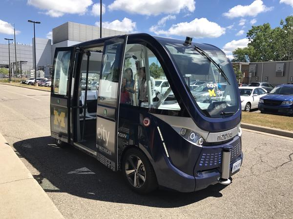 The University of Michigan now owns two driverless shuttles manufactured by the French autonomous vehicle start-up Navya. The Navya Armas are fully autonomous and electric.
