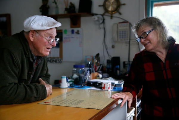 Cassy Peavey, with help from her husband Steve, runs the post office in the town of Meyers Chuck.