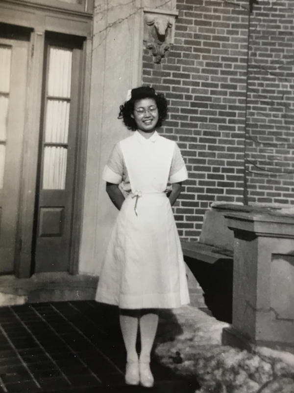 Mary Matsuda Gruenewald in 1947 in Iowa, where she went to nursing school.
