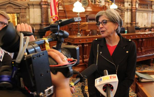 Susan Wagle speaks to reporters earlier this year. She said Monday that she is considering a run for governor or Kansas' 4th Congressional District seat.