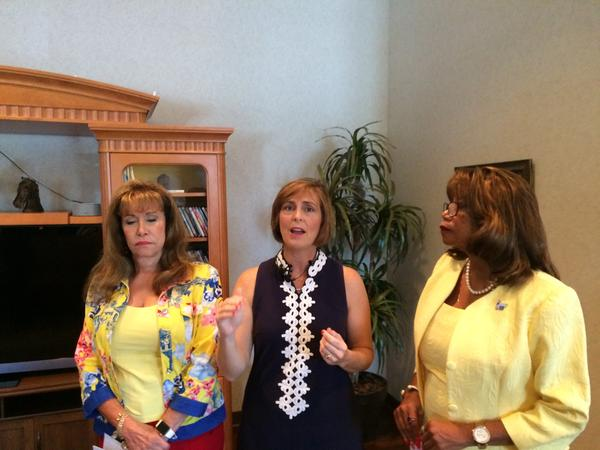 Rep. Kathy Castor, center, speaks at the American Cancer Society Hope Lodge in Tampa.