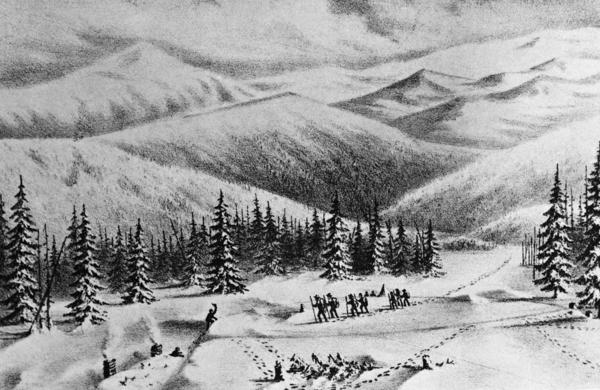Author Michael Wallis says there are modern lessons to learn from the Donner Party — primarily about the fatal combination of ignorance and arrogance. Above, an undated drawing of the pioneers, looking to make their way West.