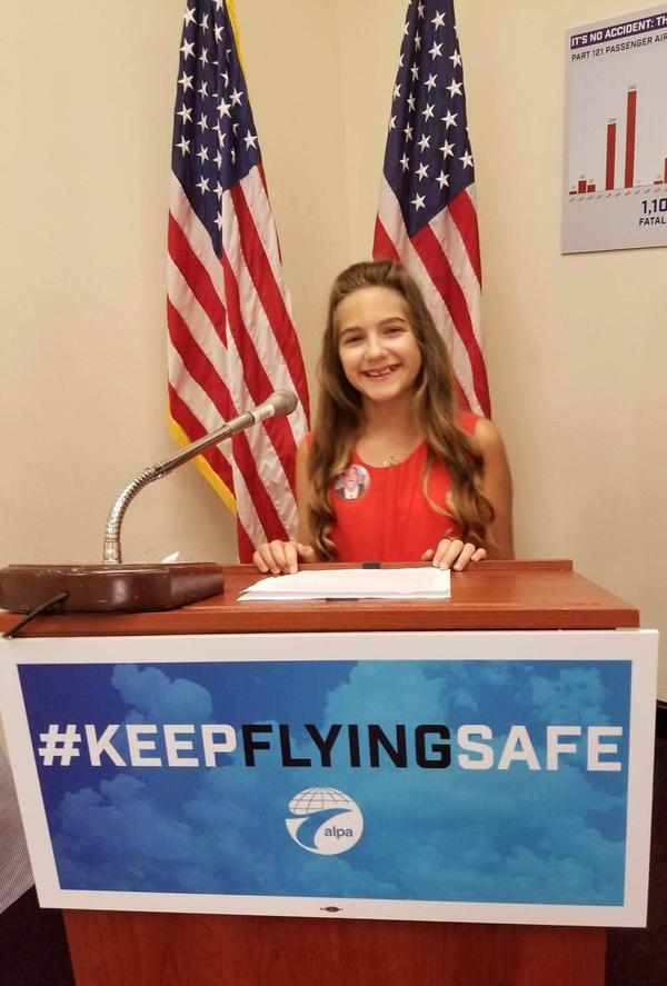 Summer West, who lost her father in the crash of Flight 3407, made her first trip to Washington, D.C. to lobby for the 2010 FAA act.