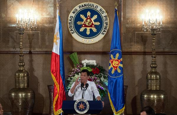 Philippine President Rodrigo Duterte gives a speech during Eid al-Fitr celebrations marking the end of Ramadan at the Malacanang Palace in Manila on June 27.