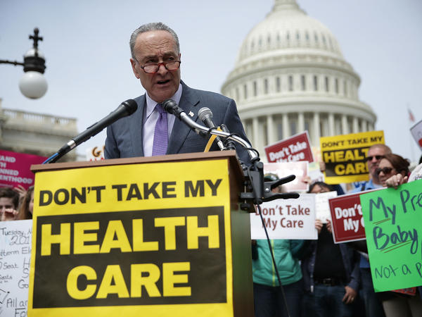 Senate Minority Leader Chuck Schumer, D-N.Y., speaks during a Stop 'Trumpcare' rally in front of the Capitol in Washington, D.C. in May.
