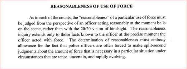 "The ""Reasonable Force"" section of the instructions given to jurors in the Jeronimo Yanez trial."