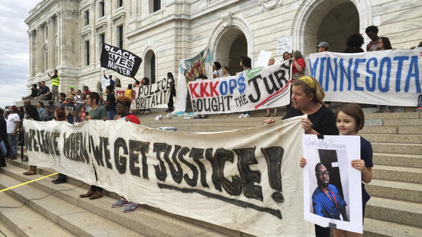 Protesters gather outside the state Capitol in St. Paul, Minn., on June 16, 2017, after St. Anthony police Officer Jeronimo Yanez was cleared in the fatal shooting of Philando Castile, a black motorist whose death captured national attention when his girlfriend streamed the grim aftermath on Facebook.