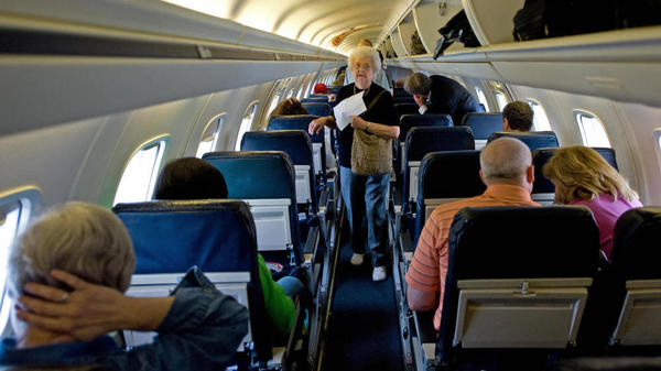 Tight quarters: Aboard a United Airlines Embraer-145, 50-passenger jet. (June 1, 2008 file photo taken at Dulles International Airport.)
