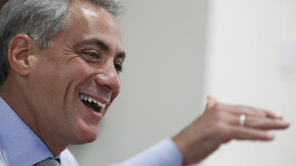 "Chicago Mayor Rahm Emanuel, shown in his office earlier this month, will mark 100 days in office on Tuesday. The former congressman and White House chief of staff says that as mayor, ""you get a way to make decisions about topics that are close to home in the way people live their lives."""