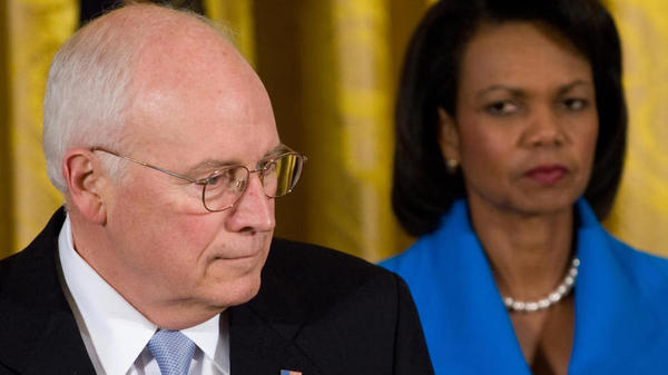 When they were on the same team: Vice President Dick Cheney and Secretary of State Condoleezza Rice in 2008.