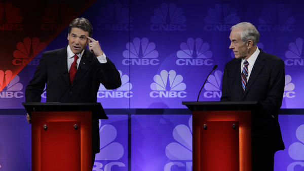 Texas Gov. Rick Perry stumbled during Wednesday night's Republican presidential candidate in Auburn Hills, Mich., at one point seeking help from Rep. Ron Paul, (R-TX).