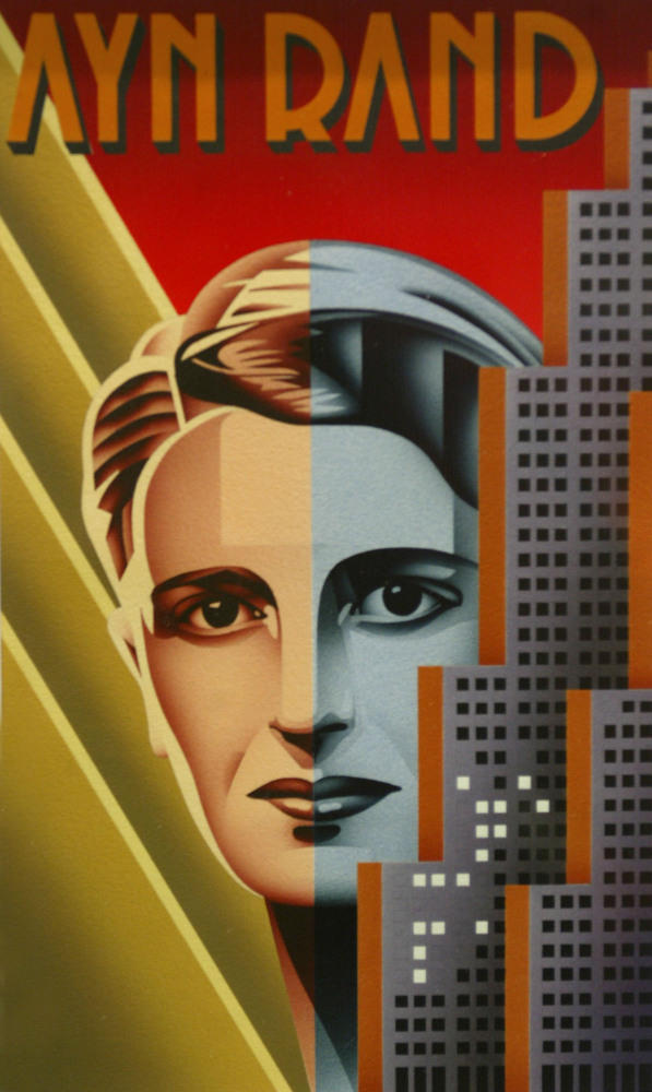 The painting of Ayn Rand by Nicholas Gaetano that was used for a U.S. postage stamp.