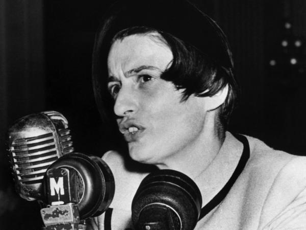 The Russian-born American novelist Ayn Rand testifies before the House Un-American Activities Committee on Oct. 20, 1947.
