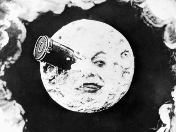 In Georges Melies' silent film <em>A Trip to the Moon</em>, a group of astronomers travels to the moon in a giant bullet.