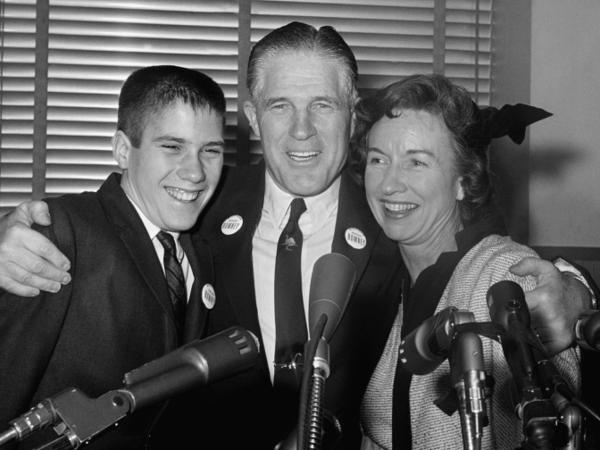 George Romney with his wife, Lenore, and teenage son Mitt, after announcing he would seek the Republican nomination for governor of Michigan in 1962.
