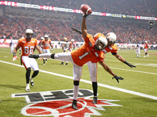 <strong>Even In Canada:</strong> During the CFL's Grey Cup title game in November, Arland Bruce (1) and Andrew Harris of the BC Lions choreographed their moves to celebrate a fourth-quarter touchdown against the Winnipeg Blue Bombers in Vancouver.