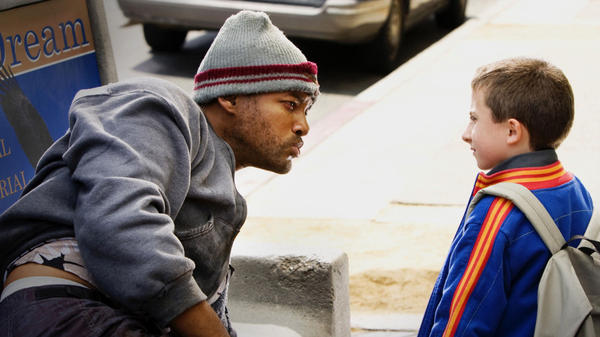 <strong>'Tonight' Show:</strong> Playing an alcoholic, unpopular superhero, Will Smith rouses himself from a park bench pass-out to stare down a curious kid in 2008's <em>Hancock</em> — a movie almost titled <em>Tonight, He Comes.</em>