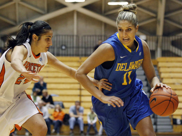 Delaware's Elena Delle Donne, seen here during a game against Princeton, made headlines when she turned her back on the University of Connecticut.