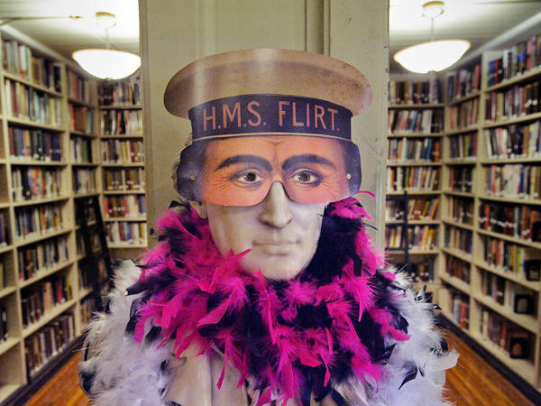Even busts get dressed up for parties at the Athenaeum.
