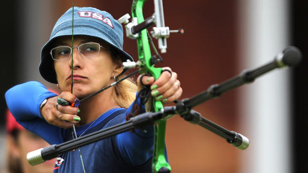 Archer Khatuna Lorig, seen here during the London Archery Classic last October, helped actress Jennifer Lawrence prepare for her role as Katniss Everdeen in <em>The Hunger Games.</em>