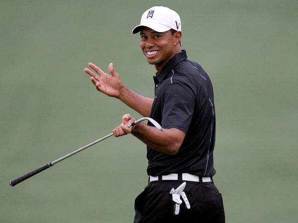 Tiger Woods at a practice round ahead of the 2012 Masters Tournament, which begins Thursday in Augusta, Ga. Woods receives the lion's share of press coverage despite his poor record over the past several years.<em></em>