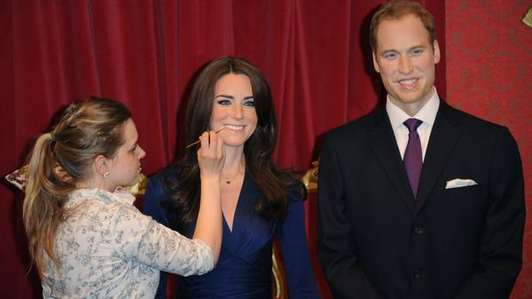 New wax figures of Prince William, Duke of Cambridge and Catherine, Duchess of Cambridge are worked on at Madame Tussauds in London, England. They're being revealed today.