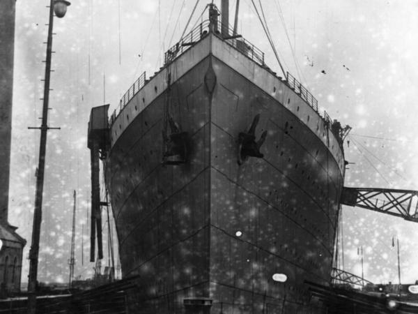 The ill-fated Titanic rests at Harland and Wolff's shipyard, Belfast, in February 1912.